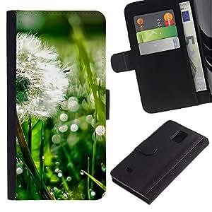 LASTONE PHONE CASE / Lujo Billetera de Cuero Caso del tirón Titular de la tarjeta Flip Carcasa Funda para Samsung Galaxy Note 4 SM-N910 / Plant Nature Forrest Flower 43