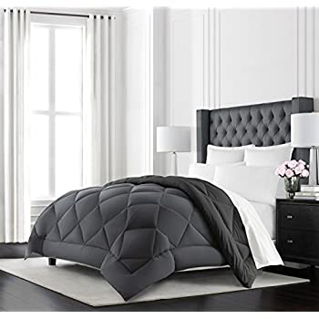 Beckham Hotel Collection Goose Down Alternative Reversible Comforter - All Season - Premium Quality Luxury Hypoallergenic Comforter - Twin/Twin XL - Grey/Black