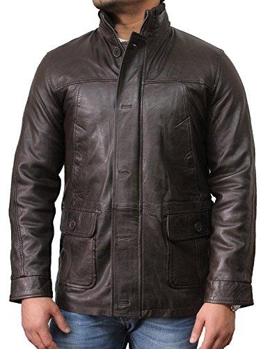 Genuine Biker Mens Brandslock Brown Vintage Jacket Leather 6paUgxq54w