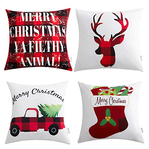 Anickal Christmas Holiday Decorations Christmas Red and Black Buffalo Check Velvet Holiday Pillow Covers 18 x 18 with Christmas Truck Deer Socks Xmas Gifts ()