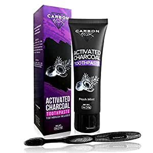 activated charcoal teeth whitening natural toothpaste kit w coconut oil black. Black Bedroom Furniture Sets. Home Design Ideas