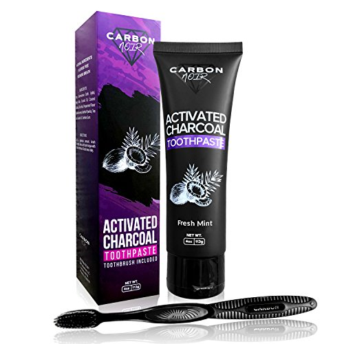 Activated Charcoal Teeth Whitening Natural Toothpaste Kit w/ Coconut Oil, Black Binchotan Toothbrush Included - USA Made - Whitener, Fluoride Free - No messy powder strips, Removes Tooth Stains (Mint)
