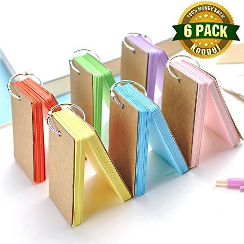 Koogel 300 Pieces 2.2 x 3.5 Inches Multicolor Kraft Paper Binder Ring Easy Flip Flash Card Study Cards/ Memo Scratch Pads/ Bookmark/ DIY Greeting Card/ Index Card Stock/ Note Card( 50 sheets per set) by Koogel