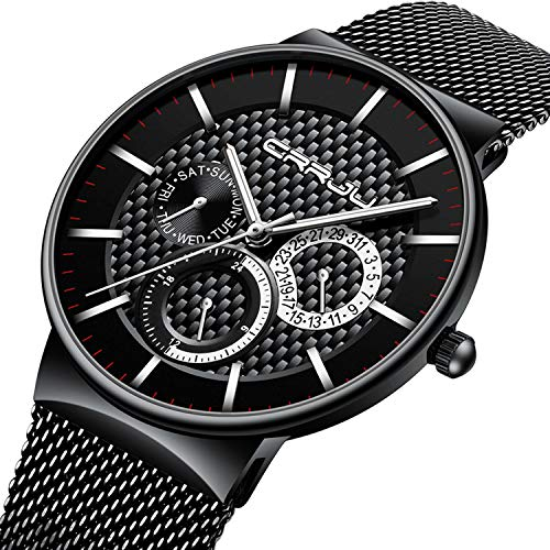 Mens Watch Ultra-Thin Case Black Milanese Mesh Sub Dial Analogue Quartz Watch Calendar Waterproof Business Design Casual Dress Watch - Silver Hand