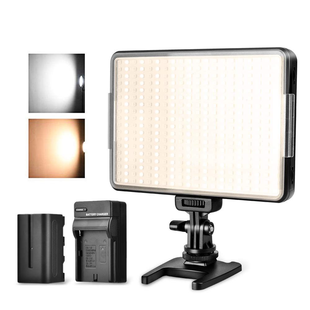360 LED Video Light Panel, Dimmable Camera Camcorder Video Light, 3200k-5600k Portable Photography Lighting with 4400mAh Battery and Charger for Canon, Nikon, Pentax, Sony and Olympus DSLR Camera