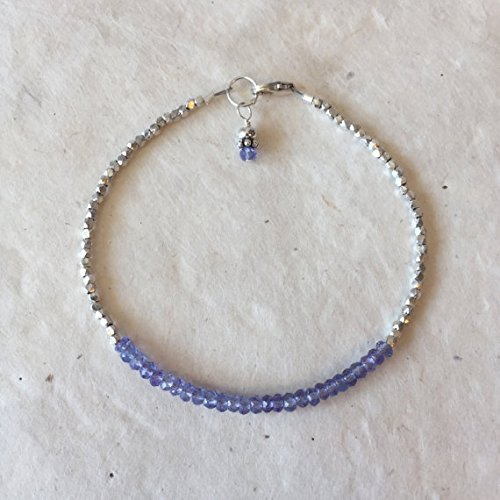 JP_Beads Tanzanite Karen Hill Tribe Thai Silver Beaded Bracelet, Sundance Style, Stacking Bracelet, Boho Bracelet, December Birthstone 2-3 mm