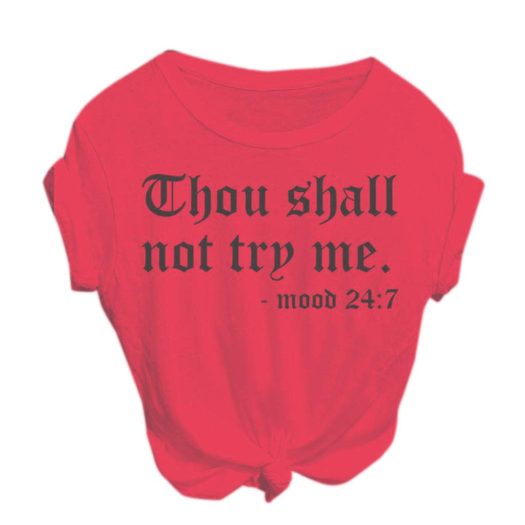 Women Thou Shall Not Try Me Letter Print Short Sleeve Shirt Loose Casual Summer Tee Tops Blouses Plus Size Hot Pink
