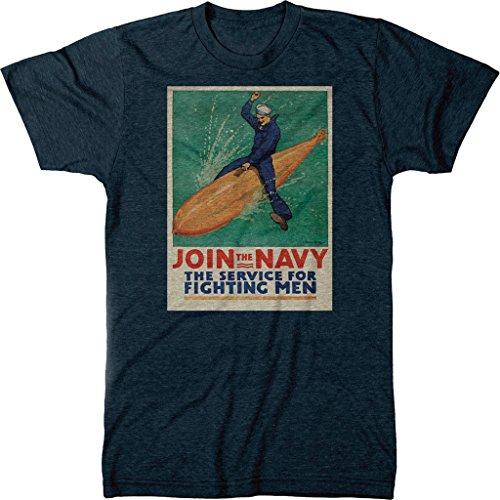 Blend Torpedo - Join The Navy Men's Modern Fit Tri-Blend T-Shirt (Vintage Navy, Large)