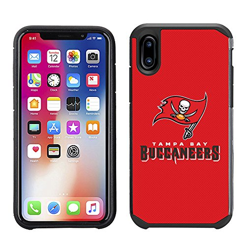 Prime Brands Group Cell Phone Case for Apple iPhone X - NFL Licensed Tampa Bay Buccaneers Textured Solid Color