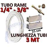 """Kit montaggio condizionatore - 3mt rame 1/4"""" + 3/8"""" con basi per unità esterna lunghezza 35cm"""