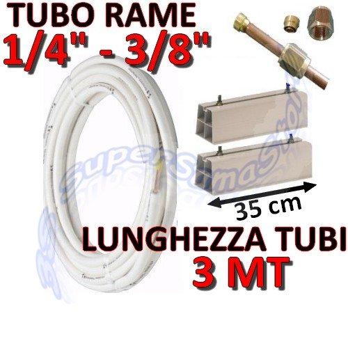Kit de montage-conditionnement Cuivre 3 mètres 1/4' 3/8' avec les bases pour unité extérieure Longueur 35 cm