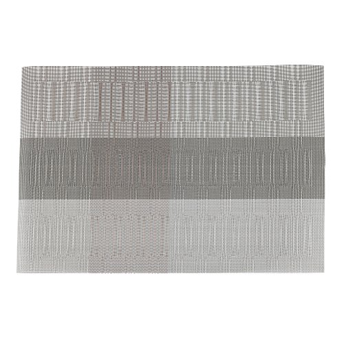 Crystallove Bamboo PVC Weave Placemats for Dining Table Set of 4 (Light Gray)