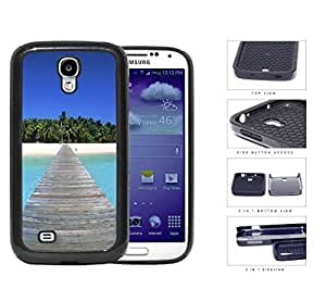 Beautiful Tropical Beach Island with Bridge 2-Piece High Impact Dual Layer Black Silicone Cell Phone Case Samsung Galaxy S4 I9500
