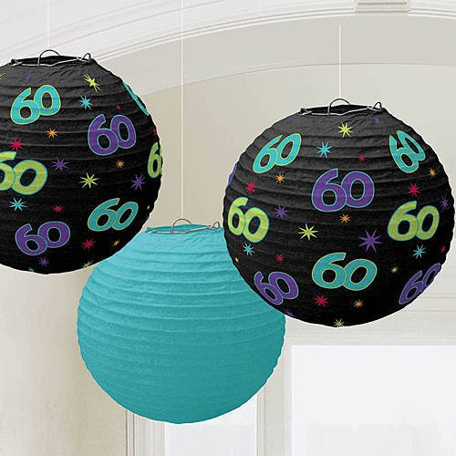 Amscan The Party Continuous 60th Birthday Party Hanging Round Lanterns Decoration, Pack of 3, Multi, 9 1/2 Paper by Amscan (Image #1)