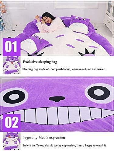 VIVITG Totoro Tatami Matelas Peluche Sac de Couchage Canapé-lit Épaissir Dessin Animé Paresseux Matelas Mignonne Pouf des Gamins Tatami Lit, Violet,200 * 150cm