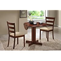 3 Piece Dining Set. 36 Drop Leaf Table with Two Chairs All Cherry Finish