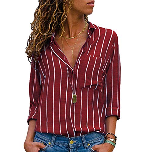 en Boutons Hauts Longues Col Raye Blouse Chemisier Xinwcang T Grande Taille Rouge Tops Manches Shirt Chemises Vrac V Femme Wnwz4X7xFA