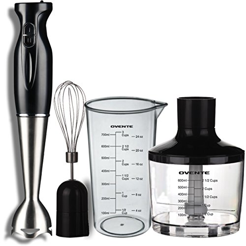 Ovente HS585B Robust Stainless Steel Immersion Hand Blender with Beaker, Whisk Attachment and Food Chopper, Black (Ninja Blender Chopper compare prices)