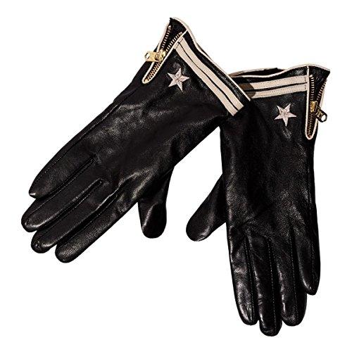 誘うとして十代の若者たち[メゾンスコッチ] MAISON SCOTCH 正規販売店 レディース レザー 革手袋 LEATHER GLOVE WITH MARINE STRIPES 141537 08 58700 BLACK D (コード:4123778913)