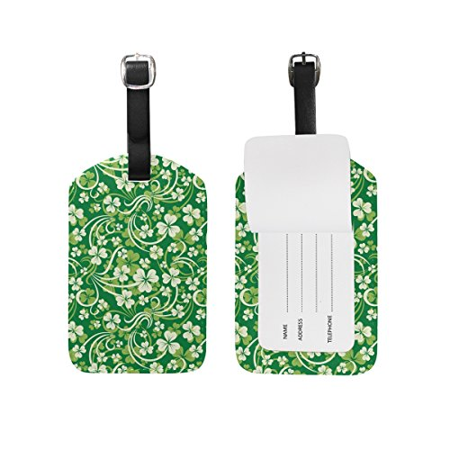 ALAZA 2pcs Luggage Tags PU Leather, Patrick Shamrock Floral Labels Tag for women