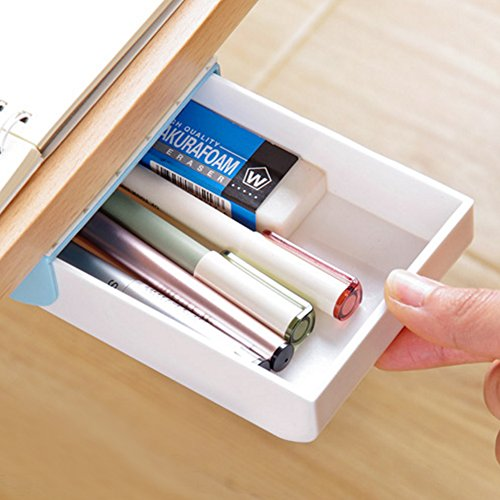Safco Hanging - Nakimo Drawer Pencil Tray Self-Adhesive Pop-Up Hidden Desktop Organizer (Blue)