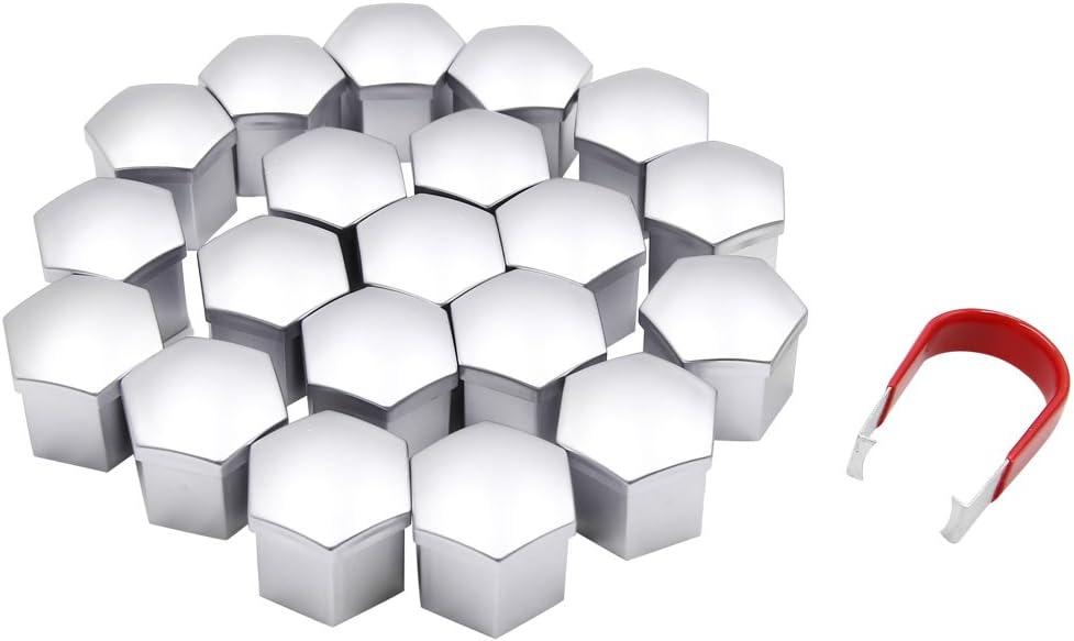 ASDZ Practical Car Wheel Trim Color : Silver 20 Pieces 21mm Universal Nut Caps for Nut Screw Protector Name