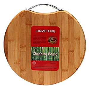 Jinzifeng Circular Eco-Friendly Natural Bamboo/Wooden Chopping Cutting Board with Handle, 30x30cm