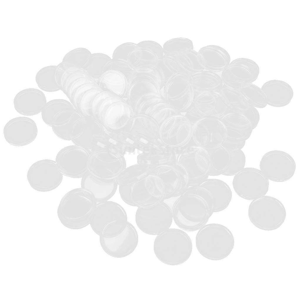 20mm 100pcs Bo/îte de Monnaie Claire avec Capsule Conteneur Pi/èces Pour Collections Enfant Adulte