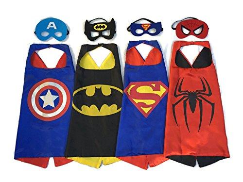 [GeeSen 4 Satin Capes and 4 Felt Masks - Superhero Dress Up Costumes] (Nerf Boy Costume)