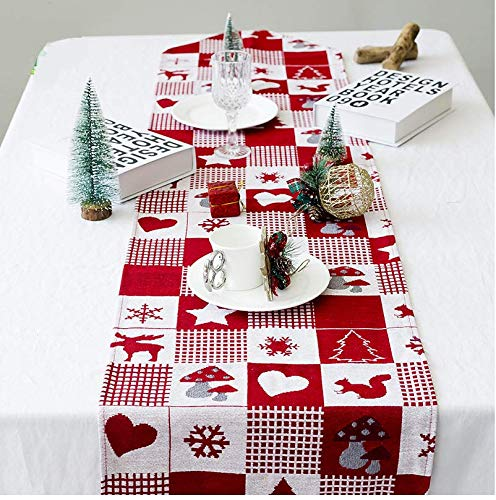 67 inch x 13.7 inch Astra Gourmet Christmas Holiday Table Runner Decorative Reindeer Dining Table Runner Table Cloth in Plaid Design with Tassels