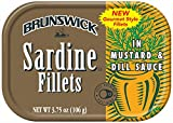 Brunswick Sardine Fillets in Mustard and Dill Sauce, 3.75oz can (Pack of 18)