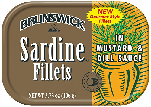 (BRUNSWICK Wild Caught Sardine Fillets in Mustard and Dill Sauce, 3.75 Ounce Cans (Pack of 18), Canned Sardines, High Protein Food, Keto Food, Gluten Free Food, Canned Food, Bulk Snacks)