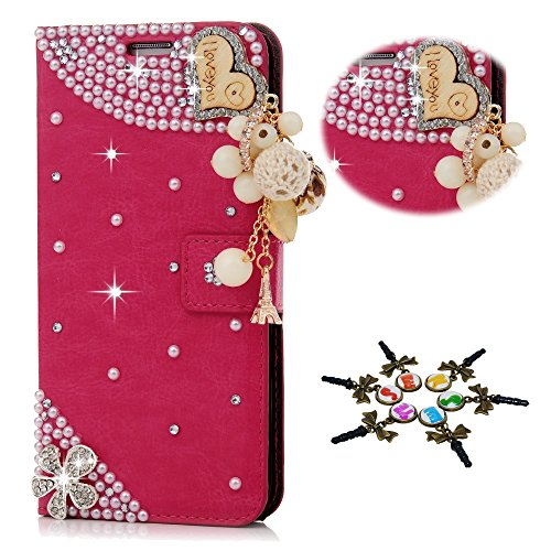 STENES iPhone 7 Plus Case - 3D Handmade Crystal Heart Pearl Pendant Flowers Sparkle Wallet Credit Card Slots Fold Media Stand Leather Cover for iPhone 7 Plus Dust Plug - Red