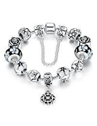 Bamoer Love Safe Chain Silver Plated Alloy Clear Crystals Flower Lampwork Charm Beads Bracelets For Girls
