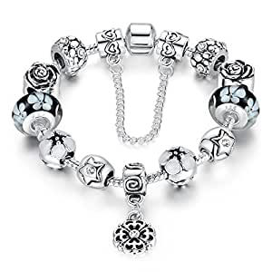 Pandora Style Glass Bead Bracelet Dark Blue Large Hole Beaded Flower Pendant Bracelet Valentine's Day for Girlfriend 18cm