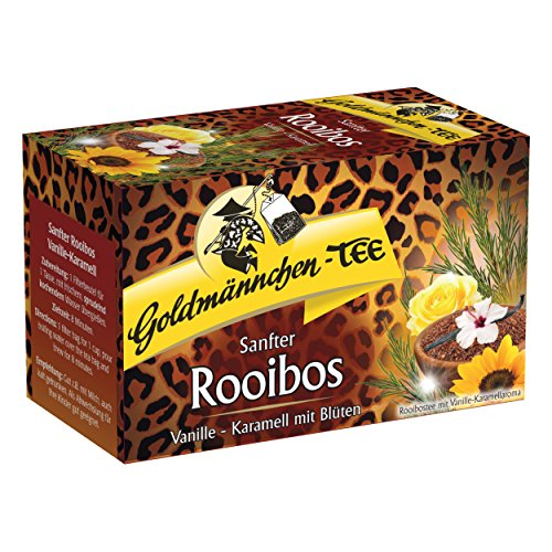 Goldmännchen Tee Rooibos Vanille - Karamell mit Blüten, Rooibostee, Kräutertee im Beutel, 20 einzeln versiegelte Teebeutel