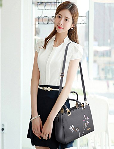 Set Long 3 Red Strap Coolives Grey Women Pieces Bag Shoulder Handle Embroidery Top zwzx8P