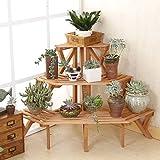 EdenHome Indoor Outdoor 3 Tier Wooden Conner Standing Flower Pot Rack Step Style Plant Display Stand Shelf, Natural Wood