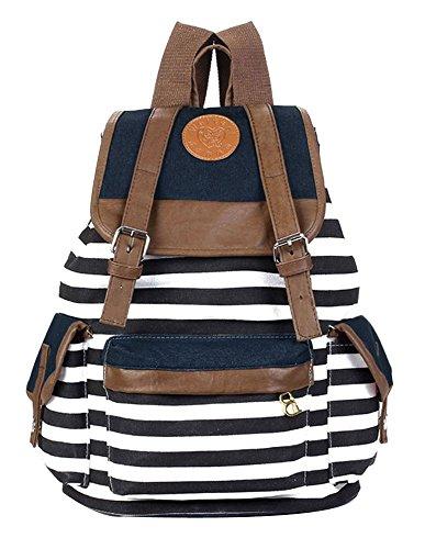 foopp blanco azul marino estilo rayas lienzo mochila mochila para portátil bolso de escuela