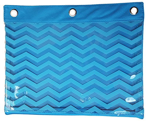 Canvas Zippered 3 Ring Binder Pencil Holder Pouch With Clear Plastic Geometric Shape Pattern (Blue ZigZag) (Clear Blues Shape)