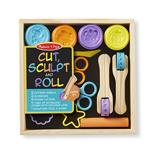 Melissa & Doug Cut, Sculpt, and Roll Clay Play Set With 8 Tools and 4 Colors of Modeling Dough