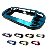 PlayStation PS VITA 1000 Case Cover Aluminum Brushed Metal Plated Plastic + Free Screen Protector (1st Generation, PCH-100x Version) BLUE