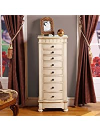 nathan direct muscat 8 drawer jewelry armoire with 2 side compartments and a lift top compartment with mirror and ring holders antique beige amazoncom antique jewelry armoire