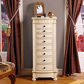 Nathan Direct Muscat 8 Drawer Jewelry Armoire with 2 Side Compartments and a Lift-Top Compartment with Mirror and Ring Holders, Antique Beige