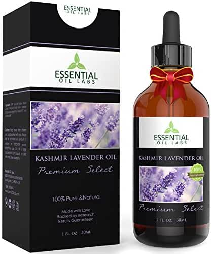 Lavender Oil (Kashmir) - Therapeutic Grade 31% Linalool and 34% Linalyl Acetate - 1 fl oz with Glass Dropper - Premium Select from Essential Oil Labs
