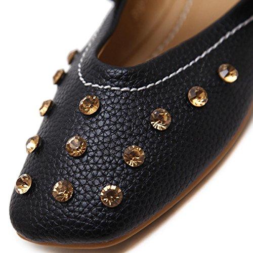 Femmes Nouvelles Loisirs Loisir Chaussures Unique Chaussures Doux Tête Ronde Arc Artificielle Diamant Lisse Bouche Dentelle Pompes Noir Rose Printemps Automne Partie