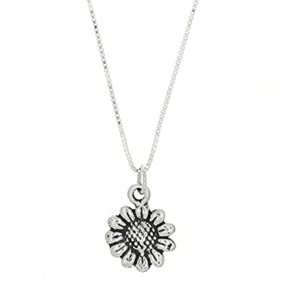 Amazon sterling silver oxidized one sided wild sunflower sterling silver oxidized one sided wild sunflower necklace 16 inches mozeypictures Choice Image
