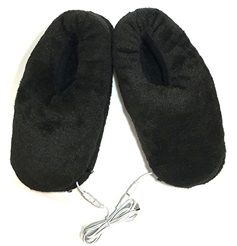 S'beauty Full Plush USB Electric Heated Slippers - Can Unpick and Wash (Black) -