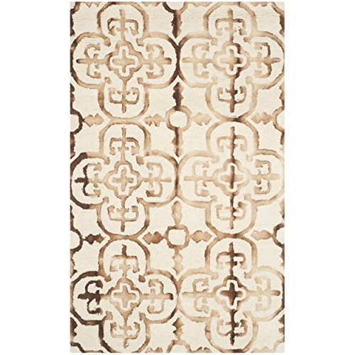 Safavieh Dip Dye Collection DDY711E Handmade Moroccan Geometric Watercolor Ivory and Camel Wool Area Rug (3' x 5')