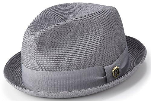 Montique Braided Straw Stingy Brim Pinch Fedora Hat with Matching Grosgrain Band H-55 (Large, (Toyo Straw Fedora Hat)